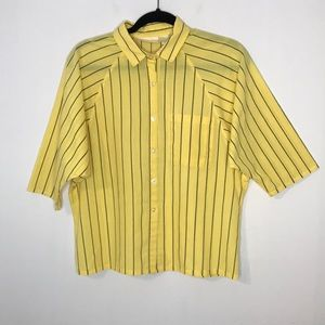 Vintage striped cotton blend boxy blouse